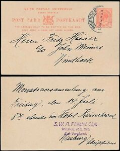 SOUTH WEST AFRICA 1922 KG5 SA STATIONERY 1d SWA PHILATELIC CLUB to FRITZ HEISER