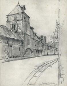 FRANK LEWIS EMANUEL (1865-1948) Pencil Drawing STREET SCENE LISIEUX FRANCE