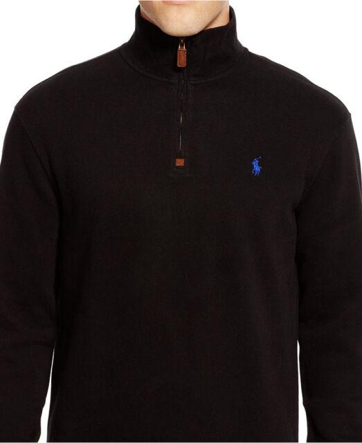 58db3fb39 Polo Ralph Lauren Half Zip French Ribbed Long Sleeve Sz M 100 Cotton ...