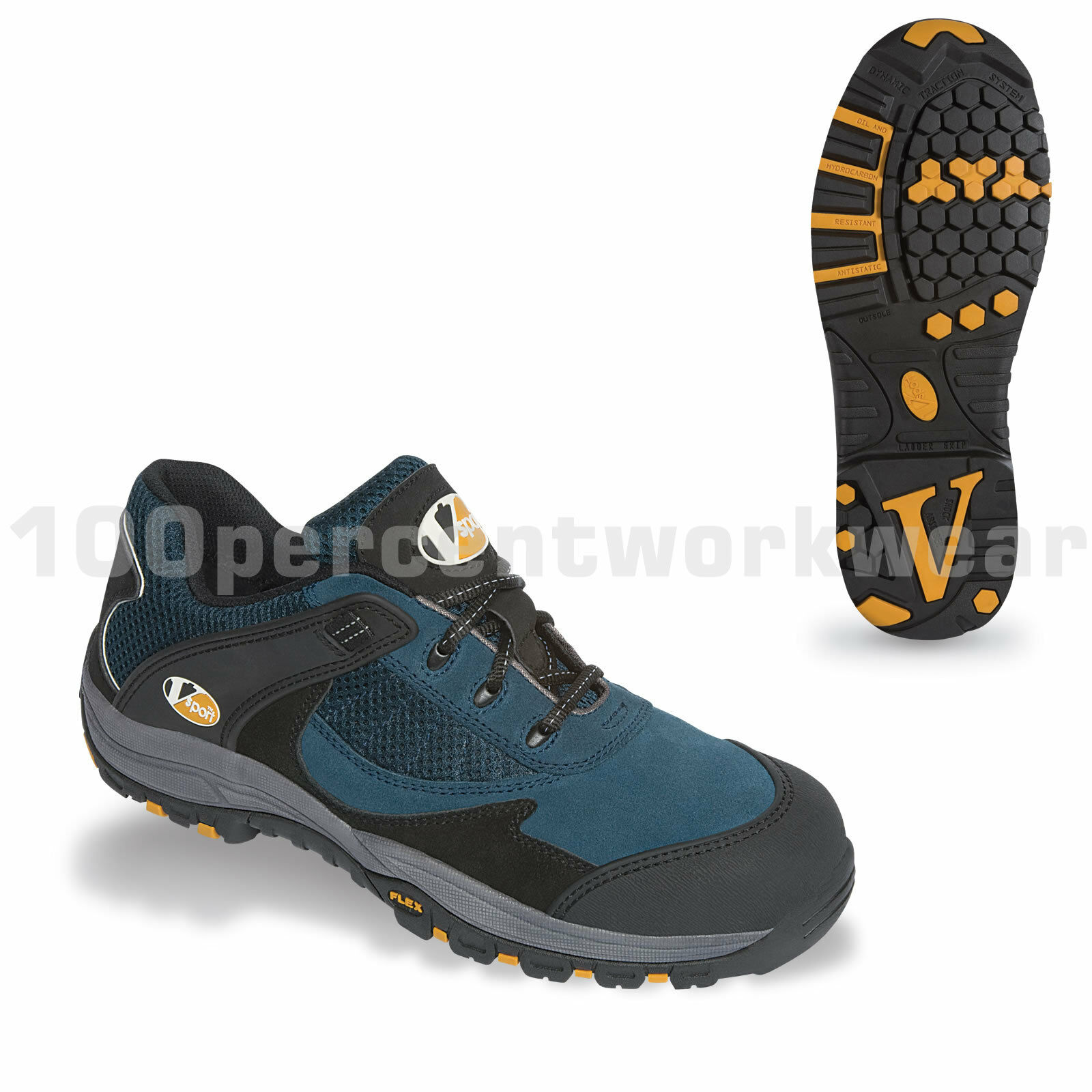 V12 Vtech Safety VS400 PITSTOP Work Trainers Schuhes Blau Free Suede Toe Cap Metal Free Blau 152434