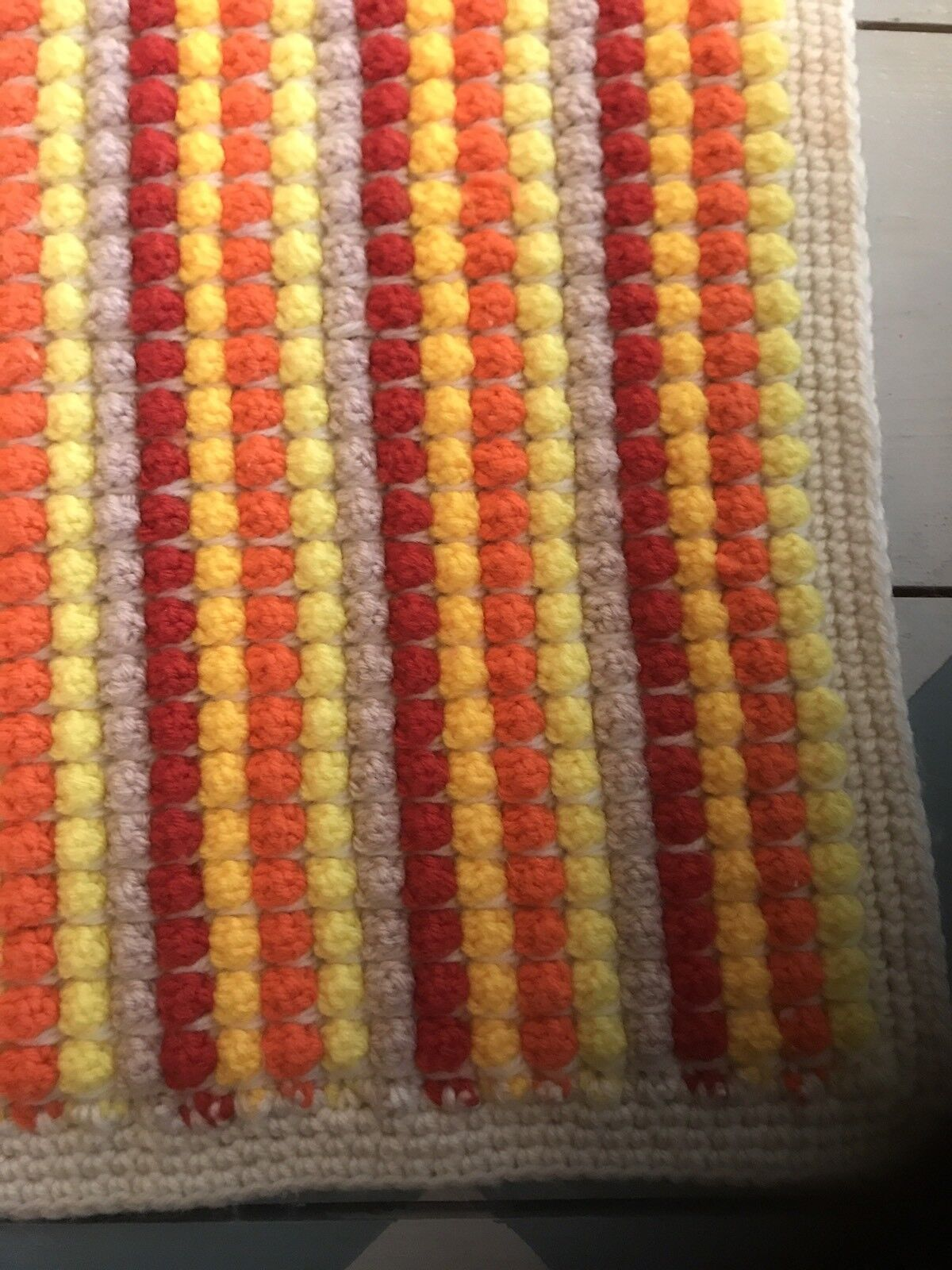 Handmade Vintage Multicolor Popcorn Stitch  Afghan Throw Blanket 51 x 63