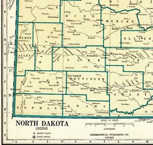 State Map Of North America.Details About 1931 Antique North Dakota State Map Rare Size Map Of North Dakota Poster 6670