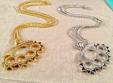"""Punch rings knuckle duster chain link hip hop bling 31"""" alloy pendant necklace"""