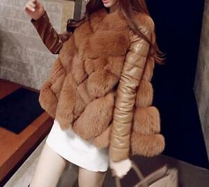 582cbc47a2be Details about Womens faux fur collar pu leather sleeve warm Coats long  Jacket outwear parkas