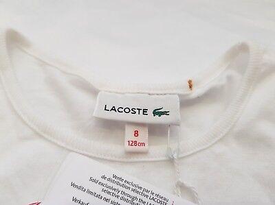 Lacoste Girls T-Shirt Junior Kids Cotton Tops Tee TJ0983-SBH White RRP £35