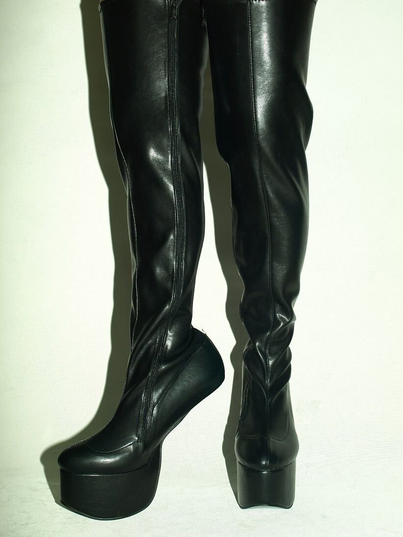 Pony botas botas botas Imitación Cuero Fetiche de botas talla 4-12 plataforma 8cm-Polonia Fs  artículos novedosos