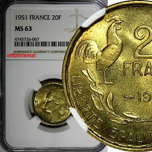 FRANCE-Aluminum-Bronze-1951-20-Francs-NGC-MS63-KM-917-1-067