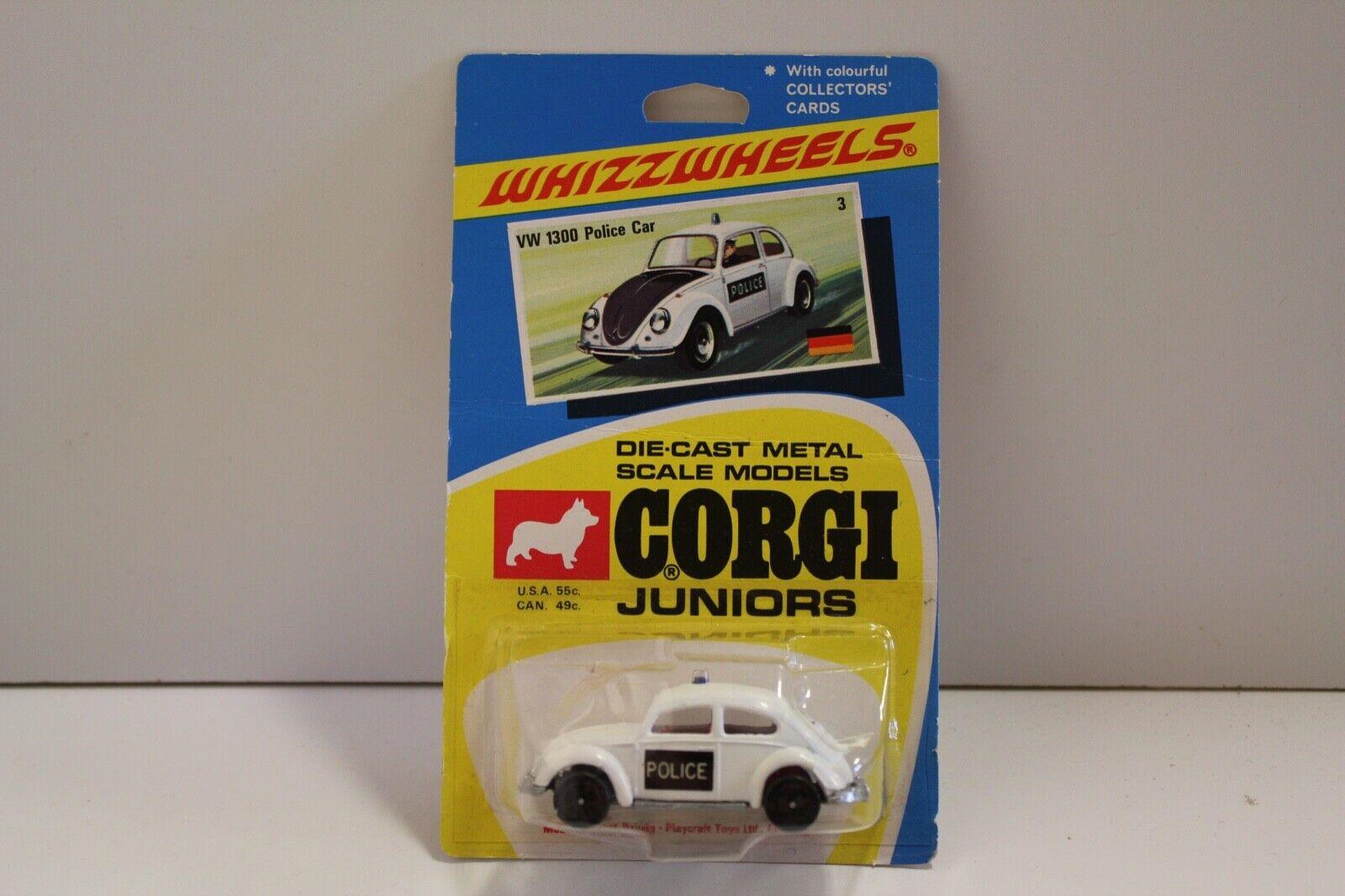 CORGI JUNIORS NO  3 rare   VW 1300 voiture de police  - Blanc (non ouvert ORIGINAL 1970)  les magasins de détail