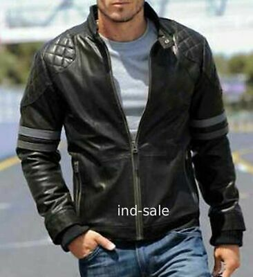 Custom Tailor Made Genuine Vintage lambskin Leather Jacket Biker Motorcycle