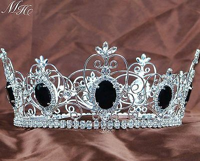 Black Crystal Crowns Full Round Tiaras Wedding Bridal Pageant Prom Party Costume
