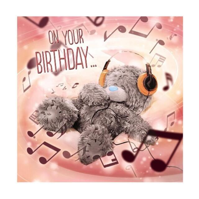 ME TO YOU ON YOUR BIRTHDAY HEADPHONES 3D HOLOGRAM CARD TATTY TEDDY BEAR