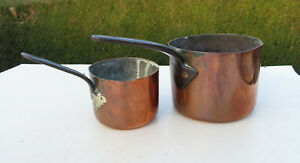 Two-Small-Victorian-Copper-Saucepans-Pots-both-stamped-EE-Iron-Handles