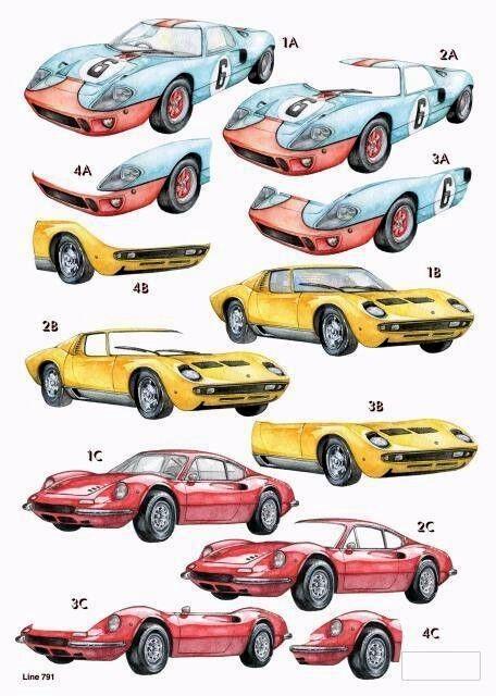 Craft Uk A4 Die Cut Decoupage Line 791 Classic Super Cars
