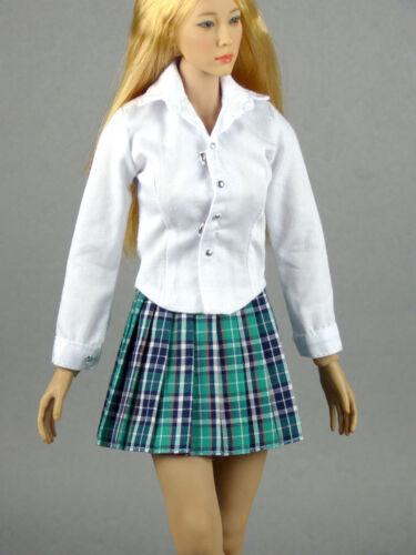 1//6 Scale Phicen Kumik /& NT Female White Shirt /& Green Skirt Set Hot Toys
