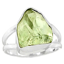 Green Amethyst Rough 925 Sterling Silver Ring Jewelry s.7 GARR65