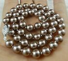 """10 mm Silver Champagne South Sea Shell Pearl Necklace 24"""" AAA+"""