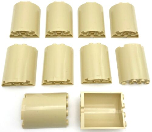 Lego 10 New Tan Cylinder Half 2 x 4 x 4 Pieces