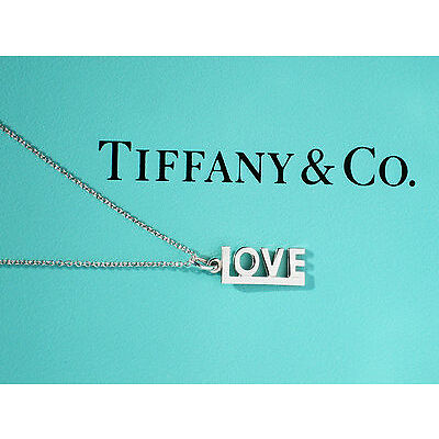 Tiffany & Co Paloma Picasso Sterling Silver Love Charm Pendant Necklace
