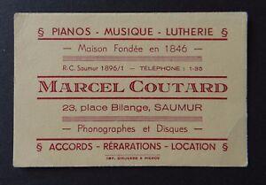 Carte De Visite MARCEL COUTARD Piano Musique Lutherie