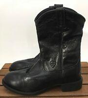 Men's Ariat Heritage Roper Black Grain Leather Cowboy Western Boots Size 7D