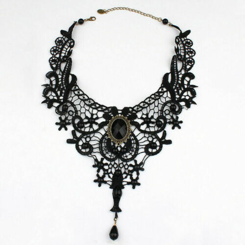Punk Gothic Women Black Lace Bead Choker Collar Pendant Necklace Jewelry Gift
