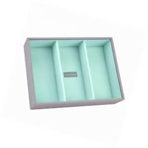 Dove Grey Cross Hatch STACKER Set of 2 Jewellery Boxes with Coral Lining STACKERS Set of 2 MINI SIZE