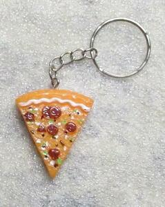 PIZZA-Slice-Resin-KEY-CHAIN-Ring-Keychain-NEW