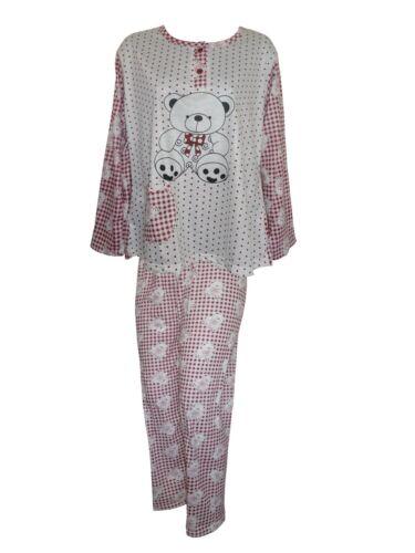 Womens Nightwear Ladies Pyjamas Set Teddy Bear Print Pjs Girls Night Suits 6-20