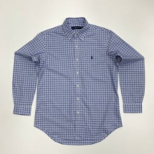 Ralph-Lauren-Para-hombres-camisa-a-cuadros-de-sarga-de-algodon-cheque-en-Azul-Blanco