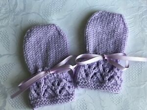 Capable New Hand Knitted Baby Girl's Mitaines, Lilas S'adapte 0-3 Mois-afficher Le Titre D'origine Brillant