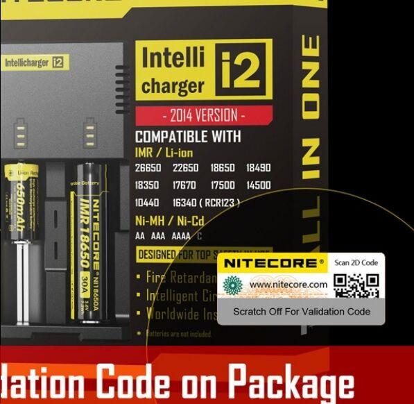 Nitecore I2 Caricabatteria per batterie Li-Ioni Ni-MH Ni-Cd 18650 26650