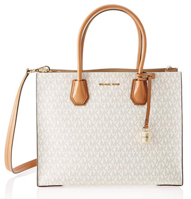 863a01c41eae Michael Kors Studio Mercer MK Logo Signature Vanilla Large Convertible Tote  Bag