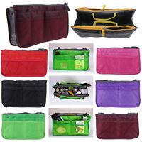 Womens handbag organizer insert zipper mesh pocket travel for Travel shirts with zipper pockets