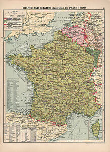Map Of France Belgium.Details About 1930 Map France Belgium Showing Peace Terms