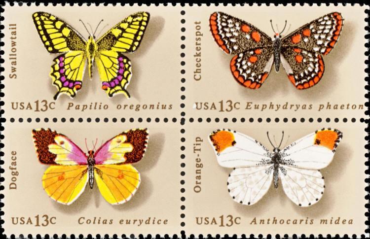 1977 13c American Butterfly, Block of 4 Scott 1712-15 M