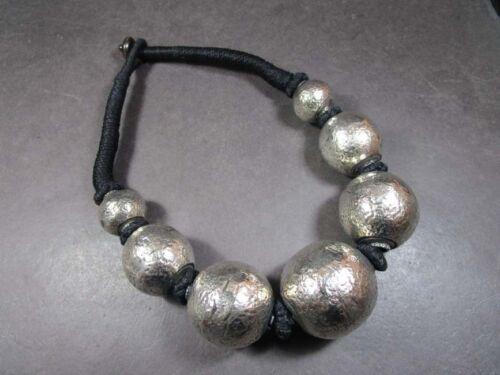 N5340 FASHION Silver Tone BRASS Round Bead TIBETAN Gypsy Tribal Massive Necklace