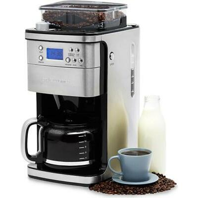 Andrew James Coffee Machine with Grinder 12 Cup Maker - Reusable Filter - Timer