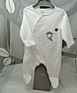 Obaibi grenouillère blanche gauffrée motif lune et mouton bébé 3 mois