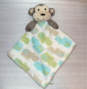 Baby-Boy-Patticakes-Monkey-Security-Lovey-Blanket-Green-Blue-Hippo-Print-9-034