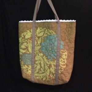 Brown Floral Quilted Tote Bag 19 x 20 in. ANDOVER Fabric