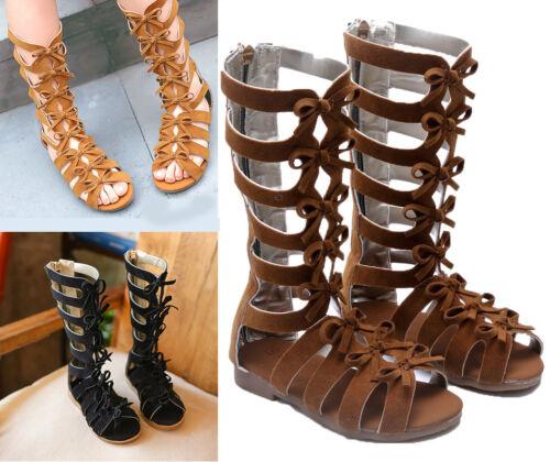 summer kids girls sandals boots High-top fashion Roman Children gladiator sandal