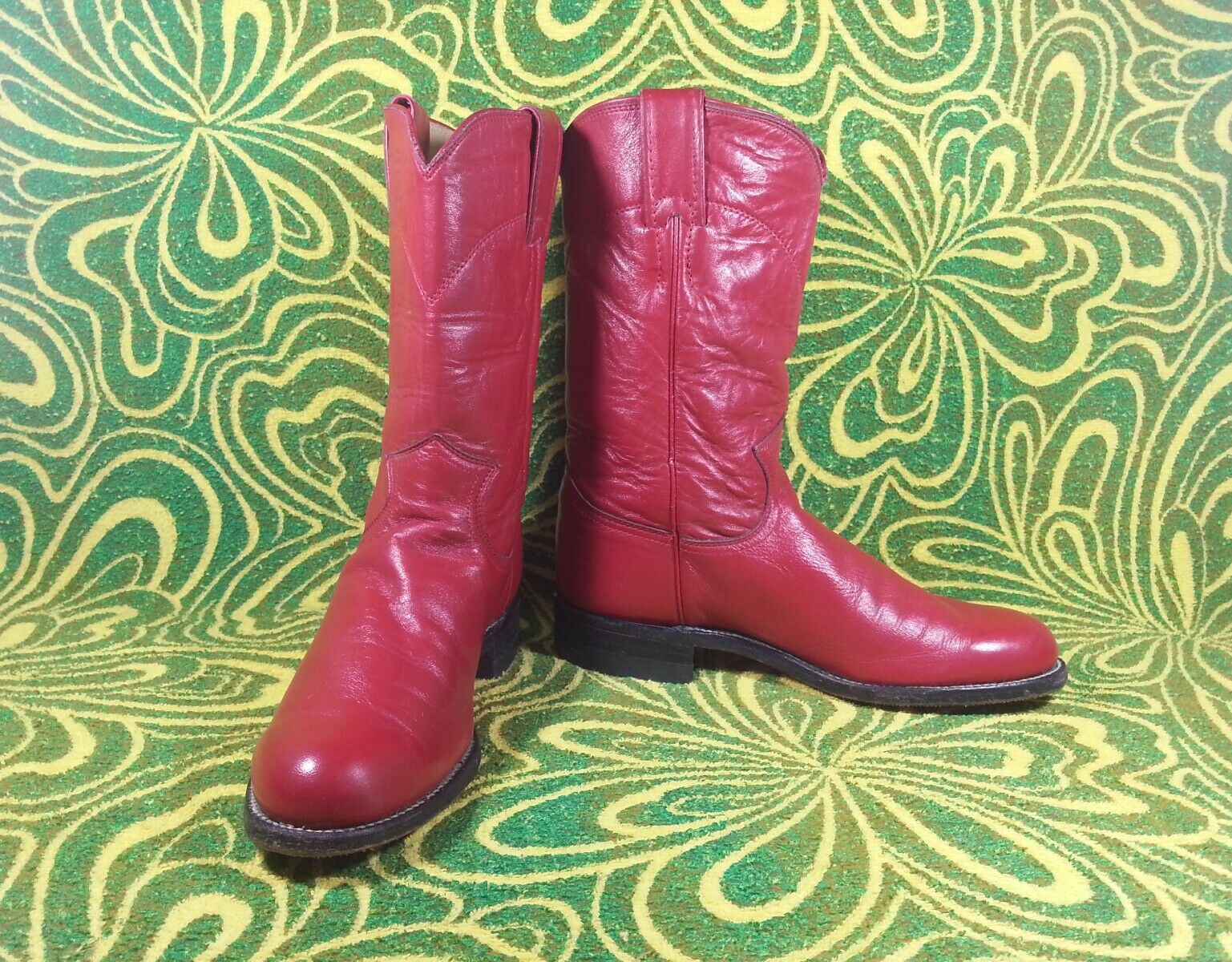 JUSTIN RED LEATHER sz.5.5 MADE IN THE USA BEAUTIFUL BOOTS