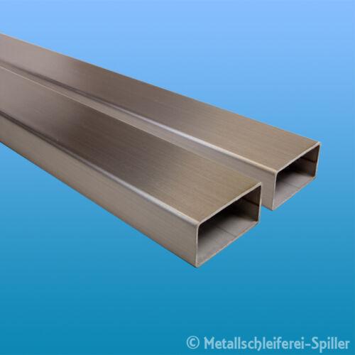 Edelstahl Vierkantrohr 60 x 20 x 2 mm L 1850-2200 mm V2A geschliffen 1.4301