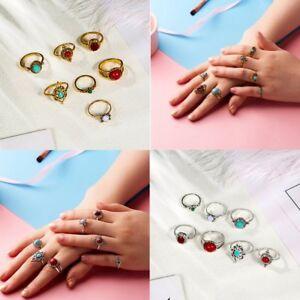 7-Pcs-set-Vintage-Stone-Women-Tribal-Finger-Rings-Set-Boho-Knuckle-Jewellery-New