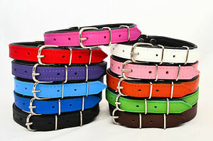 REAL-LEATHER-TOP-BOTTOM-DOG-PUPPY-COLLAR-PADDED-Handmade-HIGHT-QUALITY