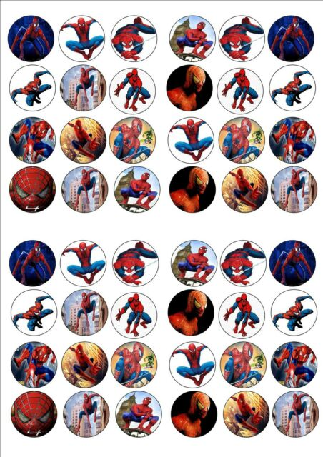 SPIDERMAN EDIBLE WAFER RICE PAPER BIRTHDAY PARTY FAIRY CUPCAKE CAKE TOPPER x 48