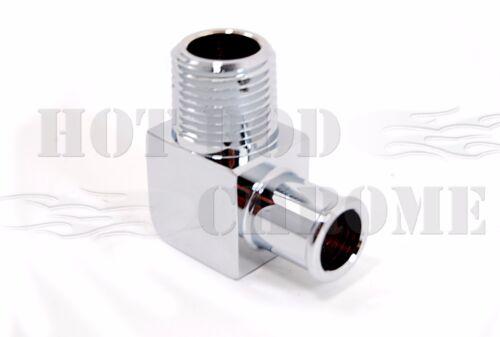 "SBC BBC Chrome Aluminum 90 Degree Heater Hose Fitting 1//2/"" NPT to 5//8/"" Barb"