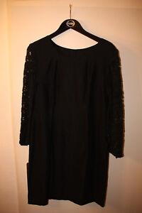 Elegantes-schwarzes-Kleid-mit-Spitzenaermeln-ca-Gr-L-XL-Gothic-Chic