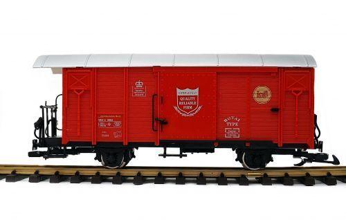 Train Vagón de Carga Cerrado, Rhb Gbk-V ,rosso, Ruedas Acero Inoxidable, Escala G