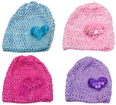 Bella Multi Pack Baby Stretchy Knitted Bonnets Hats Heart Applique U16250-6411